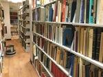 Book stacks inside the Swenson Center